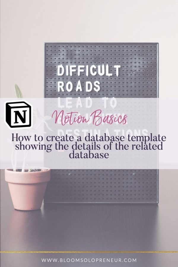 This is part of a video series for the Notion App to create Notion templates. In this video, I'll show you how to create a template for a database and link in another related database to show the related data items. I use Notion to help me keep track of EVERYTHING I need to do in my life and business and I can't believe how much it has helped me stay organised and focused on my most important tasks. #bloomsoloprenuer